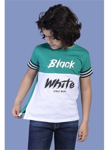 Toontoy Kids Toontoy Erkek Çocuk Kolları Şerit Detaylı İki Renkli Baskılı Tişört Yeşil